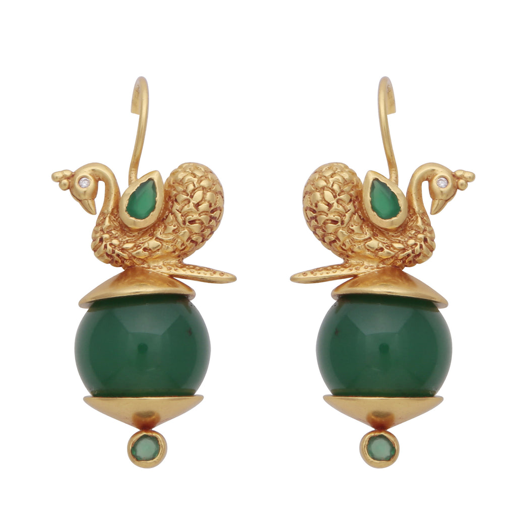 Green onyx peacock earrings