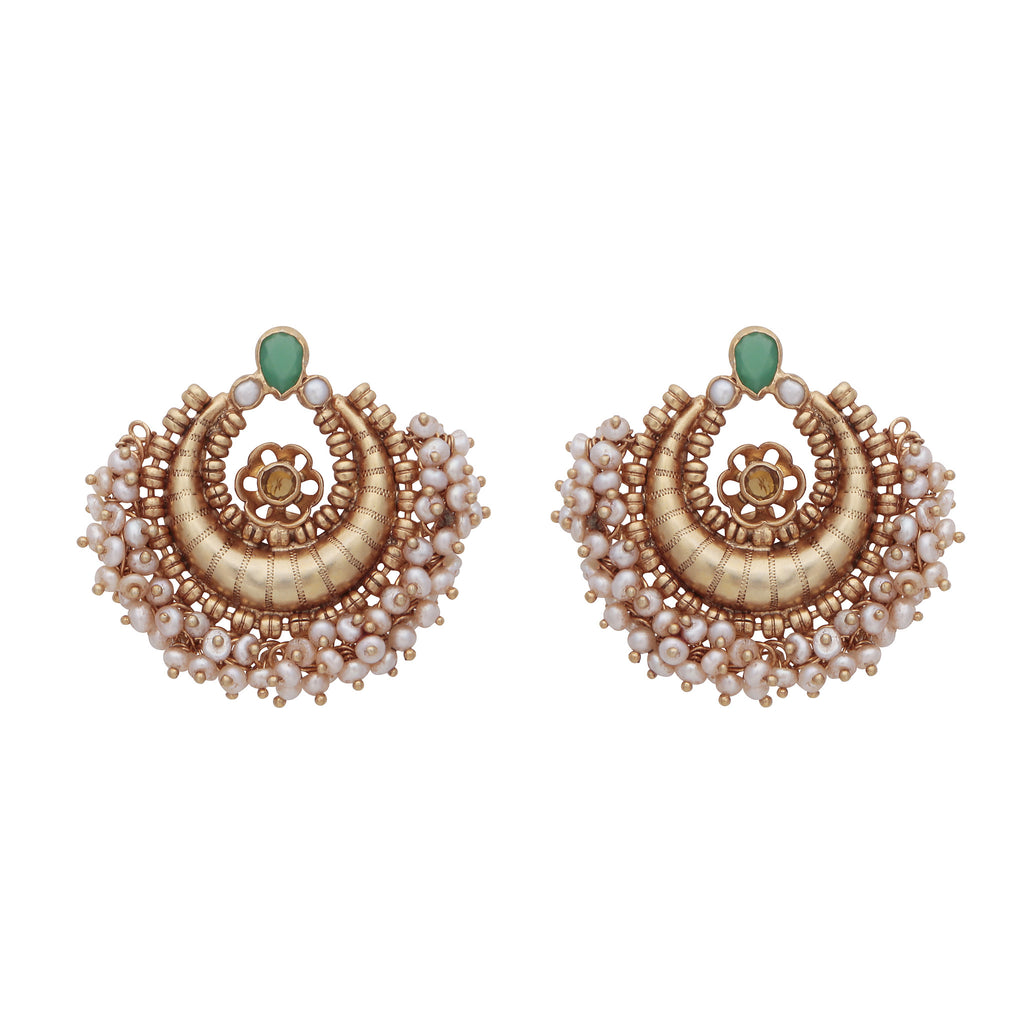 Intricate pearl cluster and chalcedony earrings