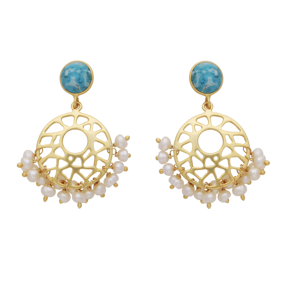 Pearl cluster and turquoise earrings