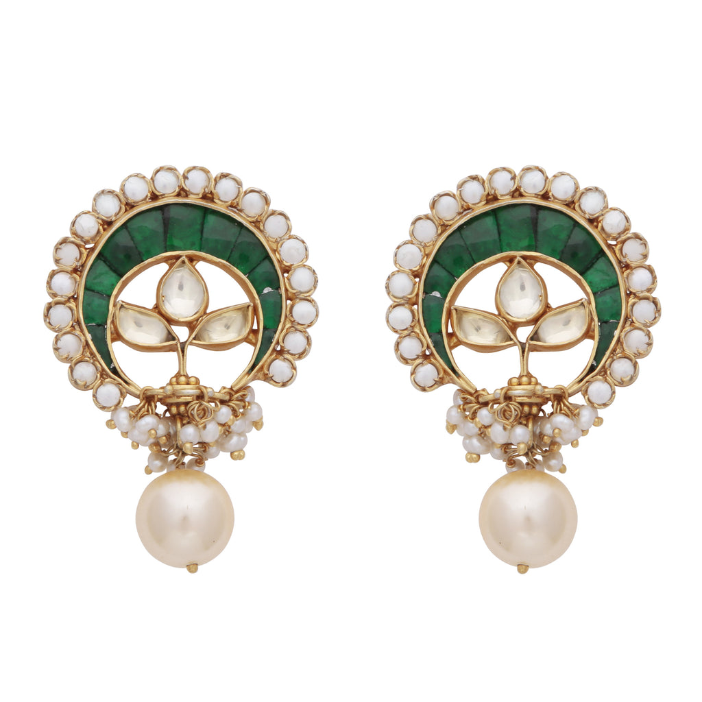 Green onyx and pearl statement earrings