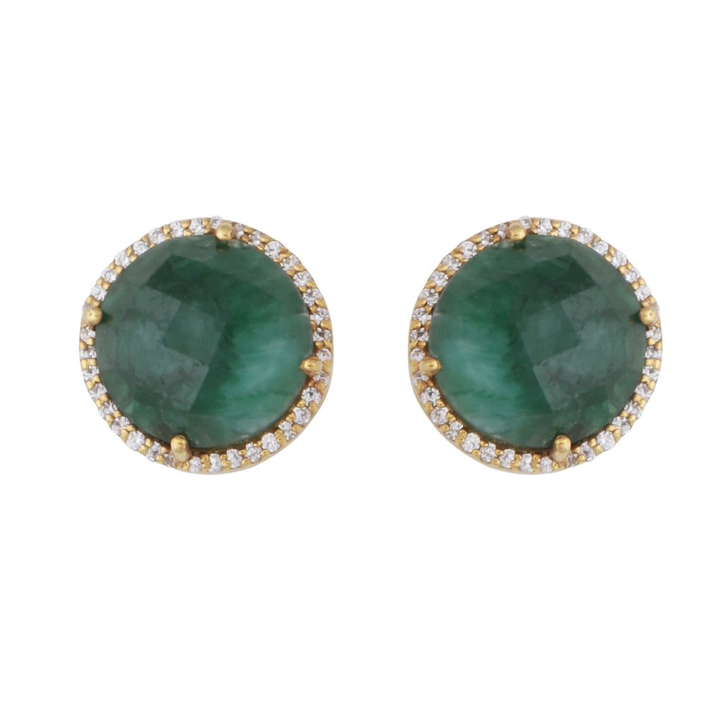 Dyed emerald and crystal studs