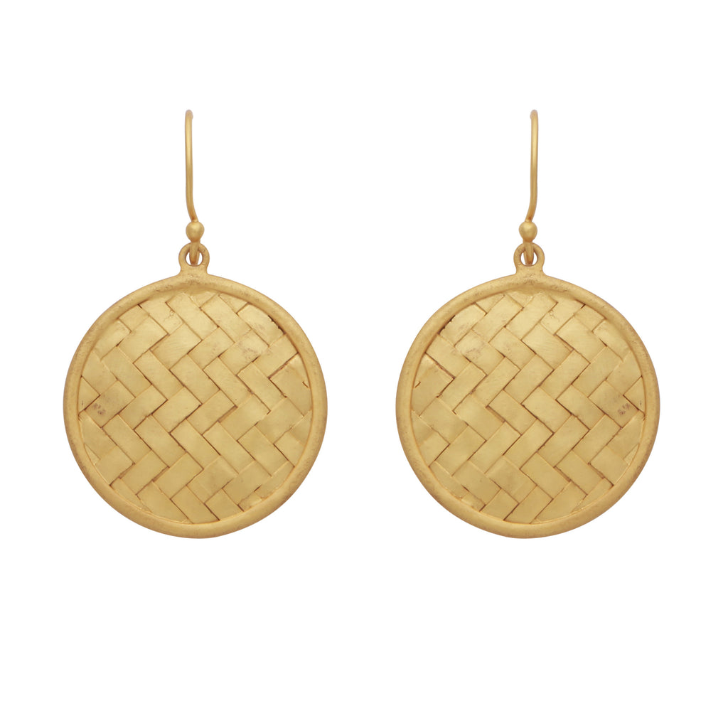 Woven gold disc earrings
