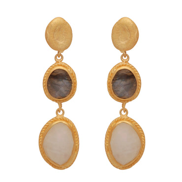 Golden nugget with labradorite and moonstone earrings