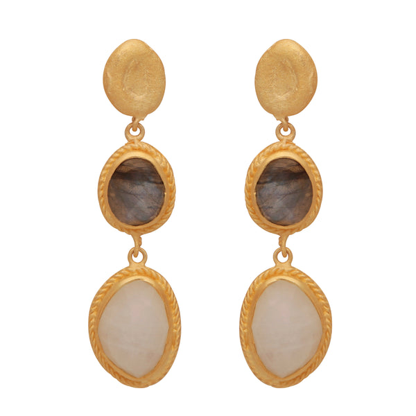 Gold nugget with labradorite and moonstone earrings