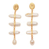 Gold nugget and mother of pearl statement earrings