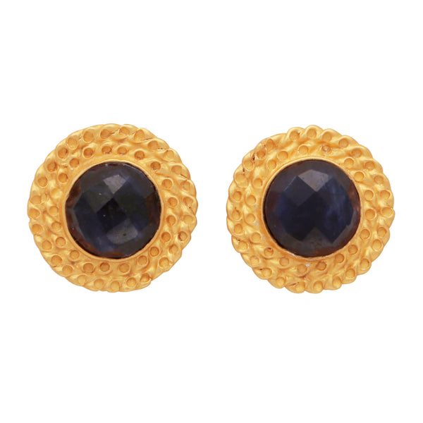 Sapphire studs with hammered border