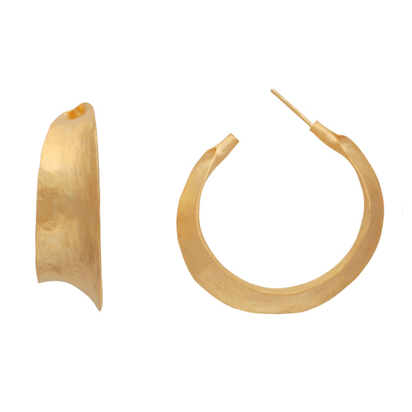 Matte gold curve hoops