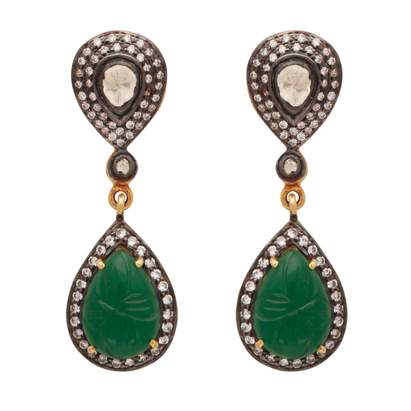 Green onyx and crystal heirloom earrings