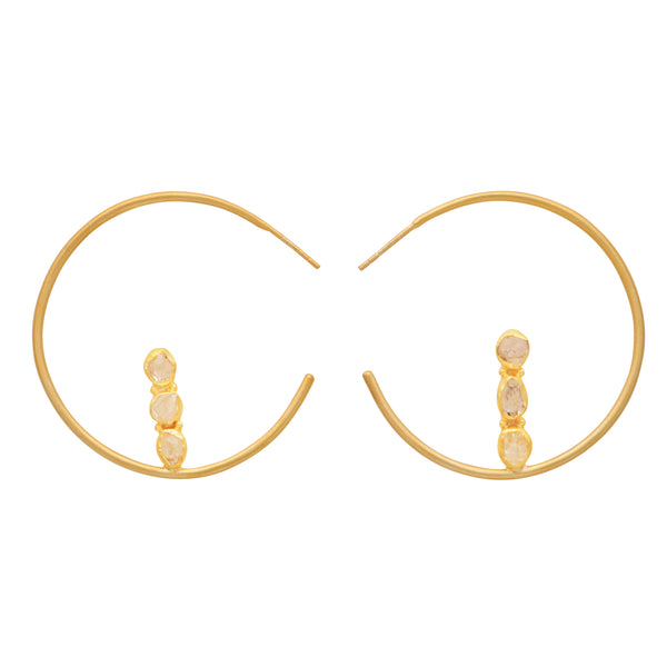 Slim gold hoops with crystals