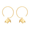 Small gold flower drop hoops