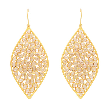 Sliced crystal golden statement earrings