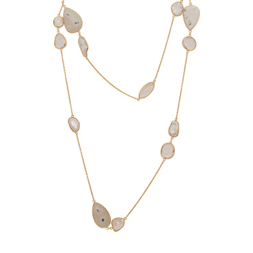 Solar quartz and mother of pearl long necklace