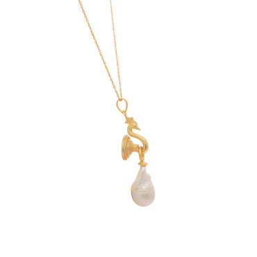 Mystical peacock and baroque pearl gold pendant