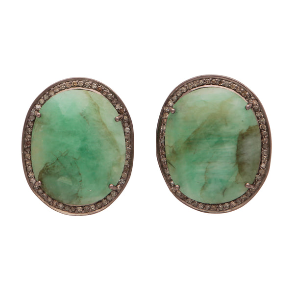 Large emerald and diamond studs