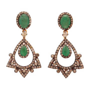 Solid gold and silver mix emerald and diamond statement earrings