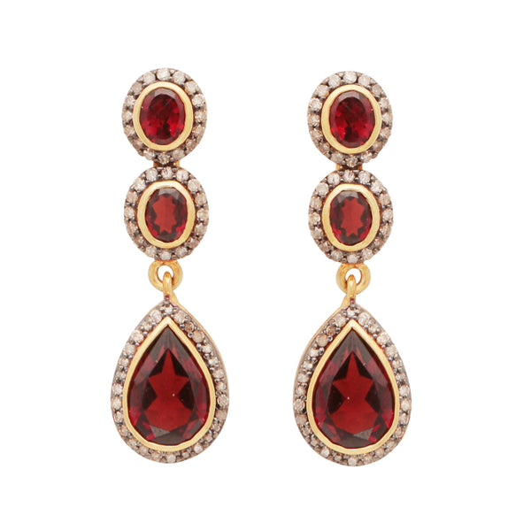 Diamond and garnet heirloom earrings