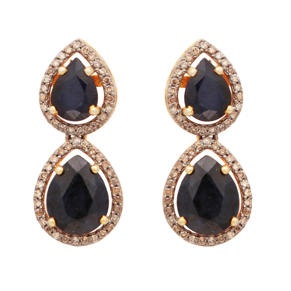 Double drop pear shaped sapphire and diamond studs