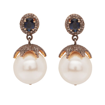 Diamond, sapphire and pearl heirloom earrings