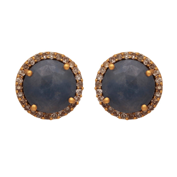 18 Carat solid gold sapphire and diamond studs