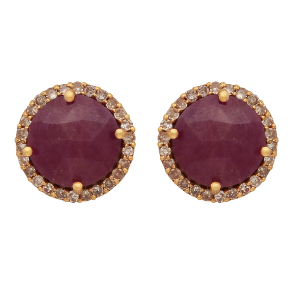 18 carat solid gold ruby and diamond studs