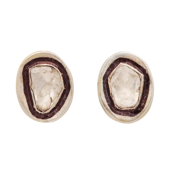 Sliced diamond simple oval studs