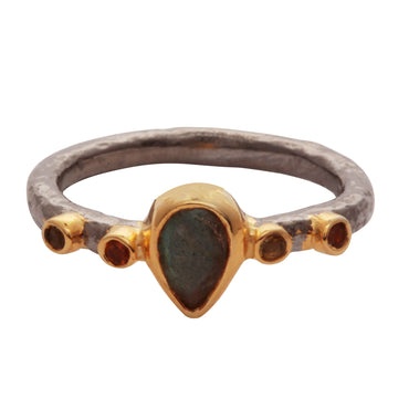 Labradorite and tourmaline antique finish ring