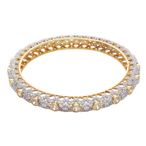 Crystal and gold bangle
