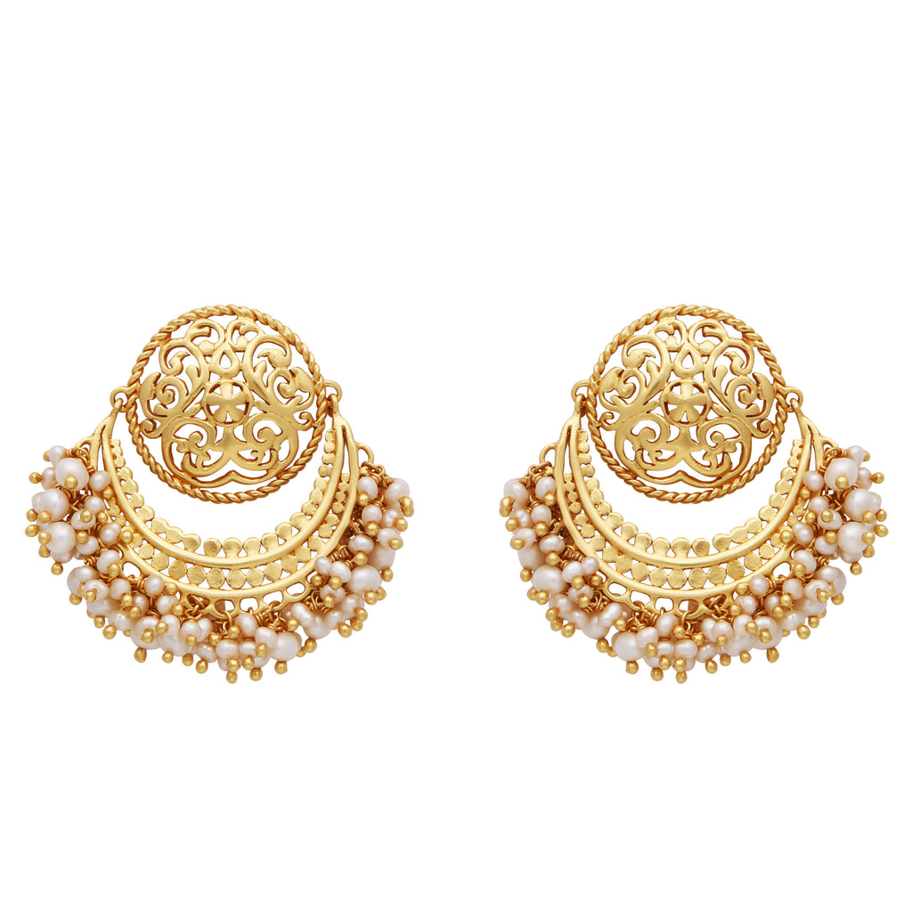 Pearl cluster statement earrings