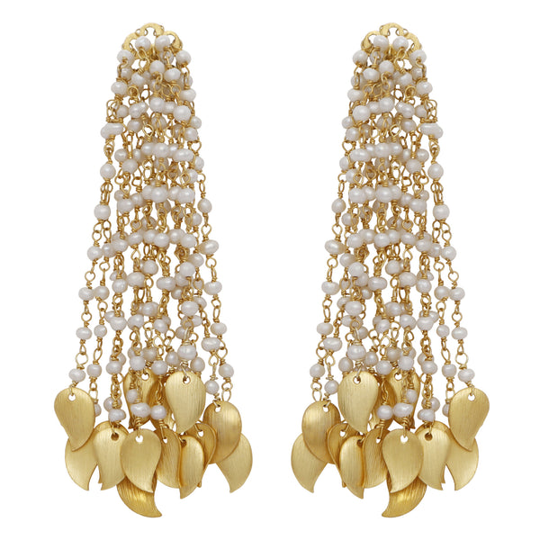 Pearl and gold drops waterfall earrings