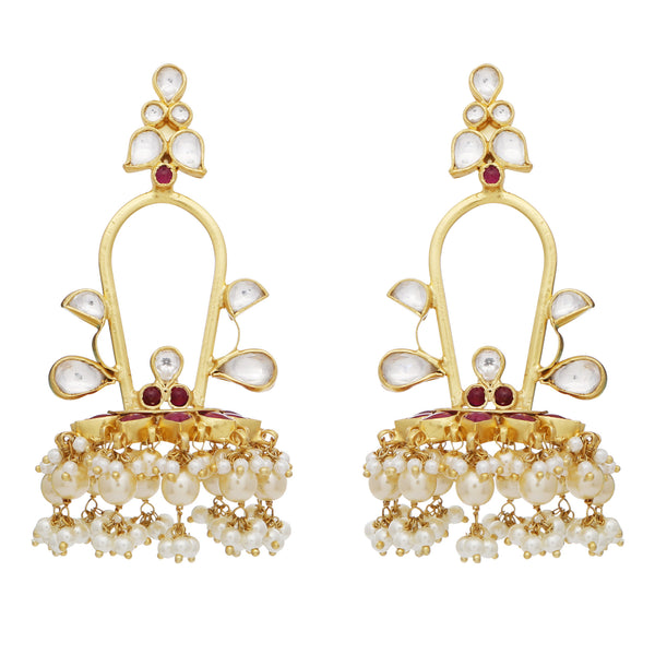 Pearl and crystal chandelier statement earrings