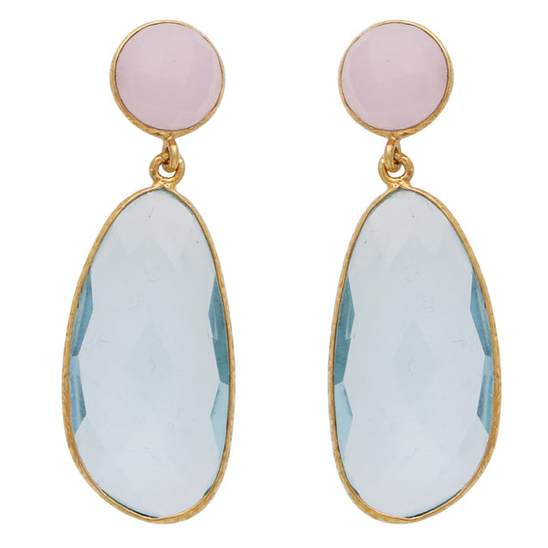 Blue topaz and rose quartz symmetrical double drop earrings