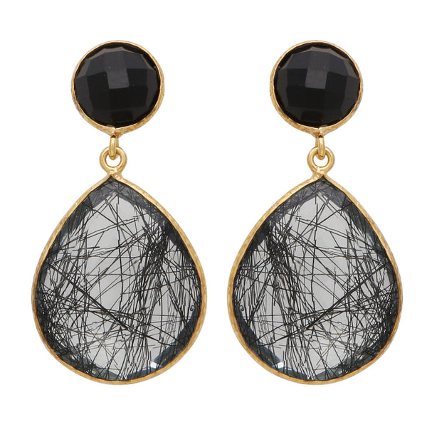 Black onyx and rutile quartz small drop earrings
