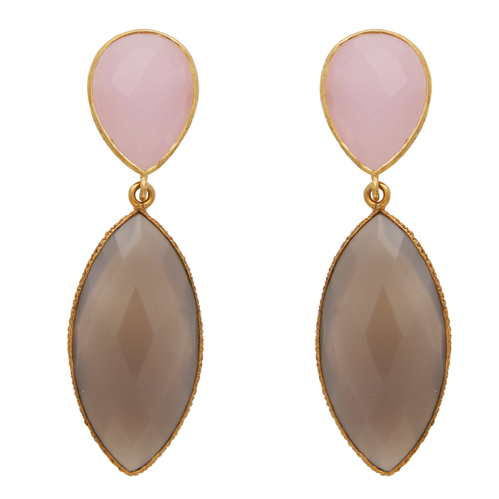 Rose quartz and chalcedony double drop long earrings