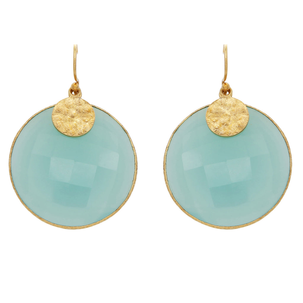 Acqua chalcedony disc earrings
