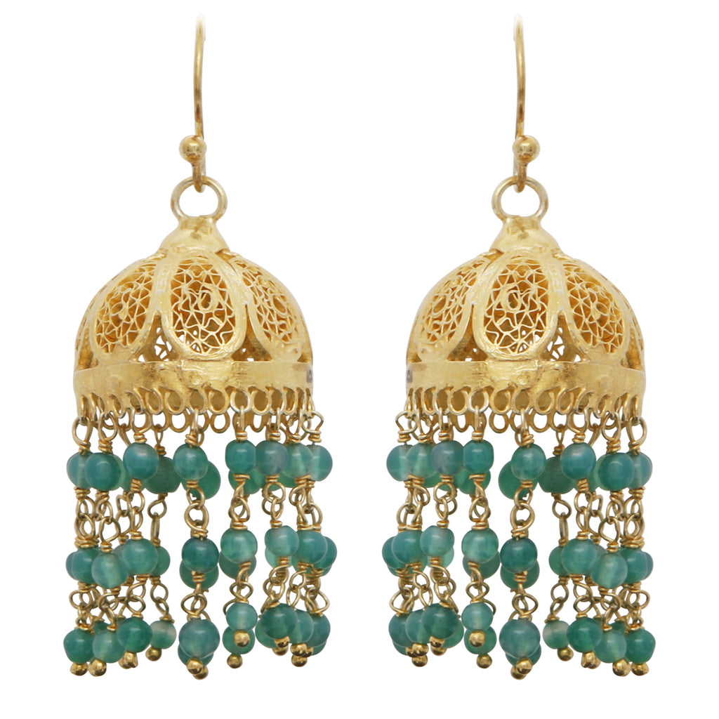Green onyx chandelier antique earrings