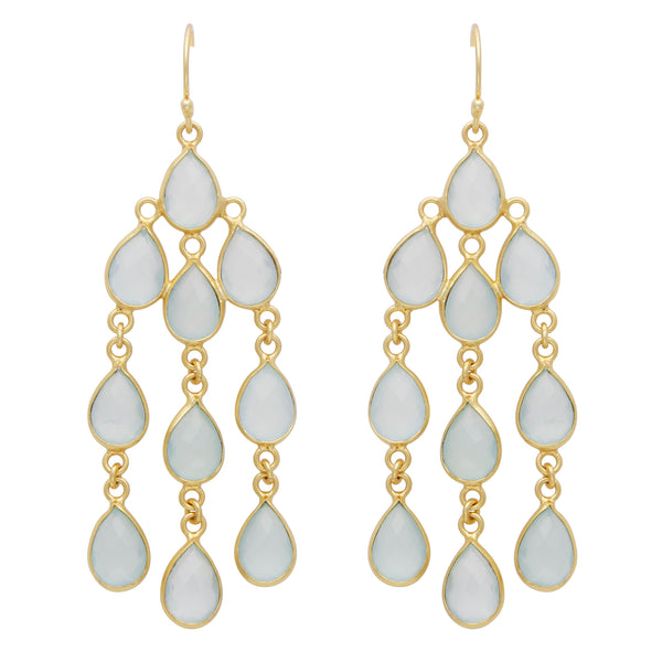 Acqua chalcedony dangle earrings