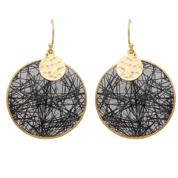 Black rutile quartz disc earrings