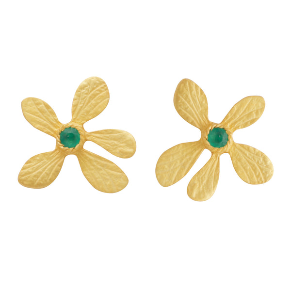Gold flower and Green onyx studs