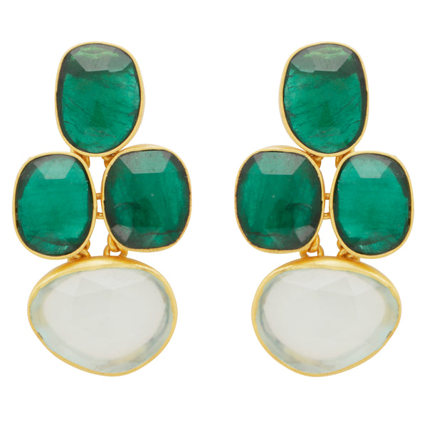 Abstract oval chrysoprase and chalcedony earrings