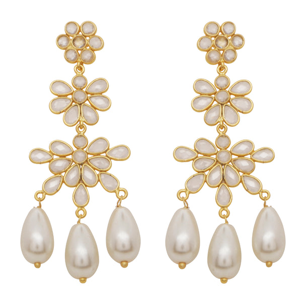 Sliced crystal and pearl statement earrings