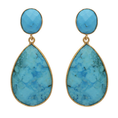 Turquoise double drop earrings