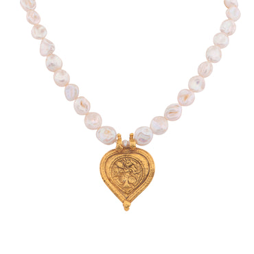 Antique heart trinket baroque pearl necklace