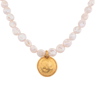 Antique gold coin and baroque pearl necklace