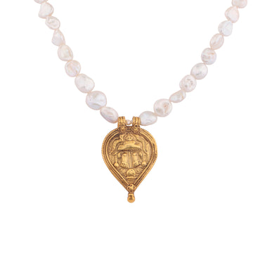 Antique family crest baroque pearl necklace