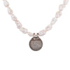 Antique monarchs coin and baroque pearl necklace