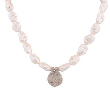 Antique small silver and baroque pearl necklace