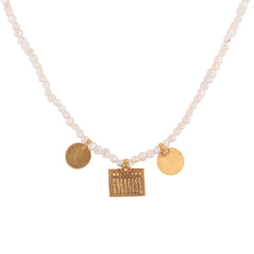 Mismatched gold trio of charms and pearl necklace