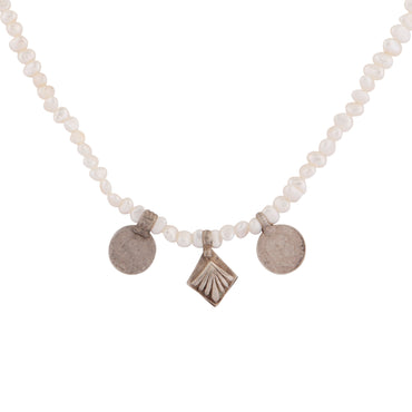 Mismatched silver trio of charms and pearl necklace