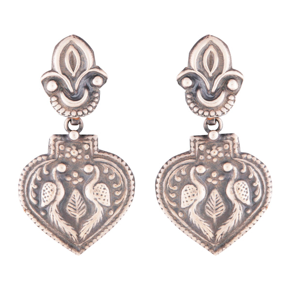 Antique style intricate silver peacock earrings