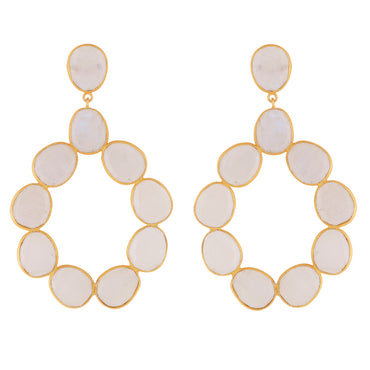 Elegant moonstone gold statement hoops